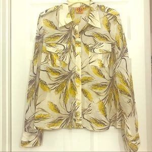 Tory Burch Yellow Button Front Floral Blouse Sz 14